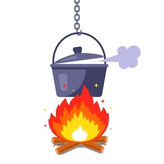 Koken op de brandstapel. marcheren ijzeren pan. vlakke afbeelding geïsoleerd op een witte achtergrond.