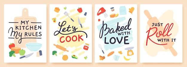 Koken poster. keukenafdrukken met gebruiksvoorwerpen, ingrediënt en inspirerende quote. met liefde gebakken. voedselbereiding les banner vector set. mijn keuken mijn regels, laten we koken. voedsel en apparaten
