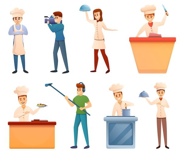 Koken show iconen set, cartoon stijl
