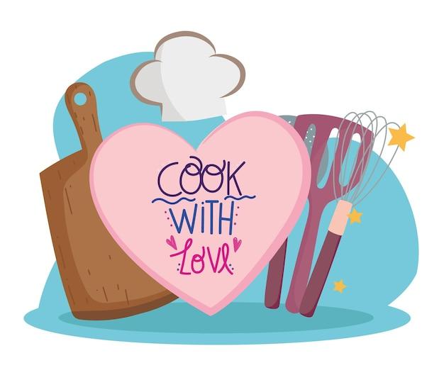 Koken snijplank bestek en hoed in cartoon stijl belettering illustratie