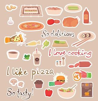 Koken stickers concept pictogrammen.
