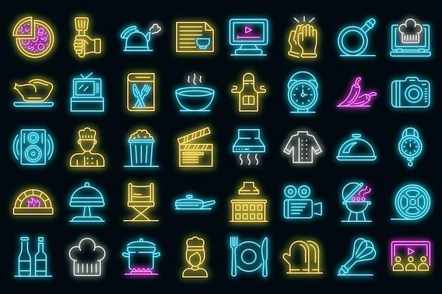Koken toon pictogrammen instellen. overzicht set van kookshow vector iconen neon kleur op zwart
