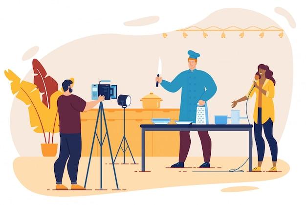 Koken tv-show met chef-kok, cameraman, interviewer