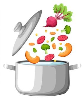 Kokend water in de pan. ijzeren kookpot op fornuis met water en stoom. grafische elementen. illustratie. website-pagina en mobiele app soepgroenten.