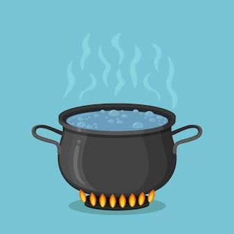 Kokend water in een kookpot