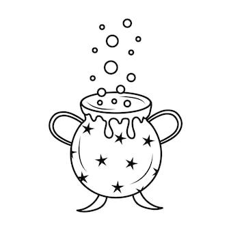 Kokende ketel met toverdrank voor halloween in doodle-stijl halloween-heksenattribuut