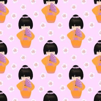 Kokeshi met een waaierpatroon
