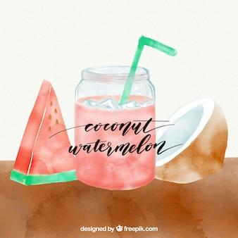 Kokos en watermeloen sap werd geschilderd met waterverf