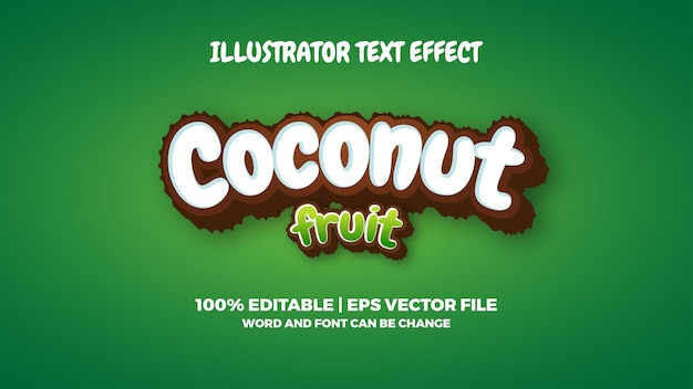 Kokos fruit teksteffect