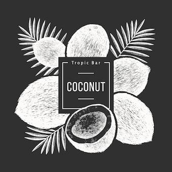 Kokos met palmbladeren design. hand getekend voedsel illustratie op schoolbord.