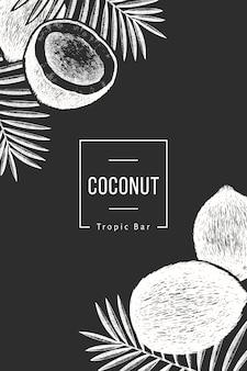 Kokos met palmbladeren. hand getekend voedsel illustratie op schoolbord. gegraveerde stijl exotische plant. retro botanische tropische achtergrond.