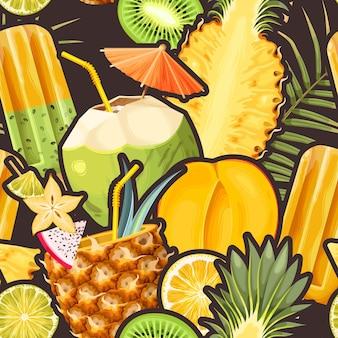 Kokoscocktails en tropische vruchten vector naadloze achtergrond