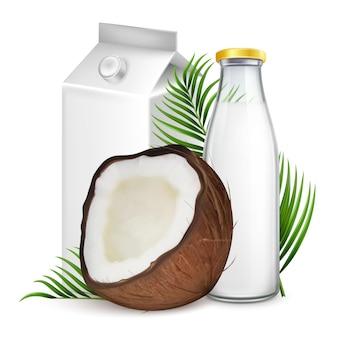 Kokosmelkpakket en fles mockup set. 3d-realistische vectorillustratie van heilzame veganistische melk in glazen fles en kartonnen kartonnen verpakking