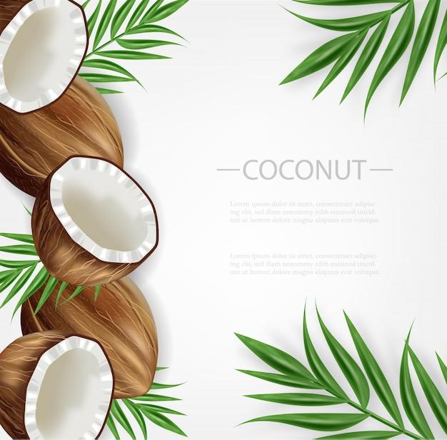 Kokosnoot achtergrond sjabloon