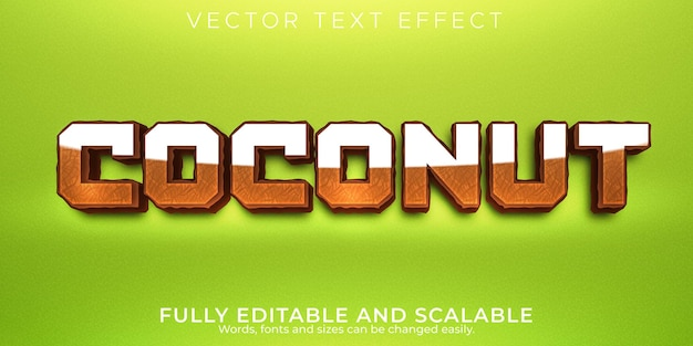 Kokosnoot bewerkbaar teksteffect, voedsel en organische tekststijl