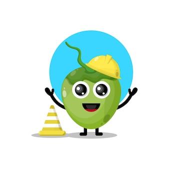 Kokosnoot bouwvakker schattig karakter mascotte