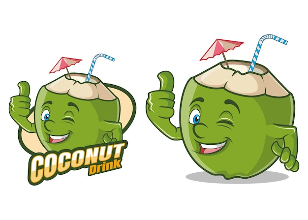 Kokosnoot drankje stripfiguur mascotte