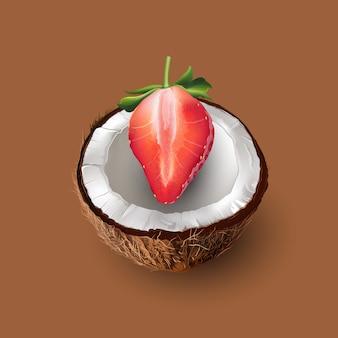 Kokosnoot en aardbeiillustratie