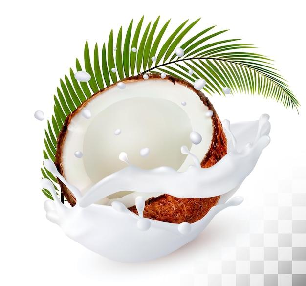 Kokosnoot in een scheutje melk op een transparante achtergrond. vector.