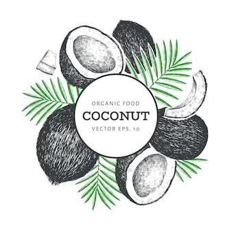 Kokosnoot met ontwerp van palmbladen
