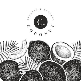 Kokosnoot met palm bladeren ontwerpsjabloon