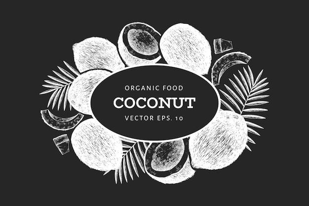 Kokosnoot met palm bladeren ontwerpsjabloon.