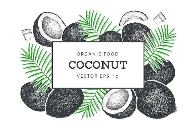 Kokosnoot met palm bladeren sjabloon. hand getekend voedsel illustratie. gegraveerde stijl exotische plant. vintage botanische tropische achtergrond.