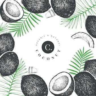 Kokosnoot met palm bladeren sjabloon voor spandoek