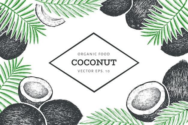 Kokosnoot met palmbladeren ontwerpsjabloon.