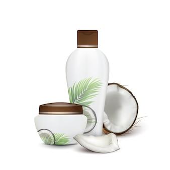 Kokosnoot natuurlijke shampoo en crème cosmetica vector. gebarsten kokosnoot en schoonheid accessoire lege container en fles. biologische melkachtige huidverzorging romige lotion sjabloon realistische 3d illustratie
