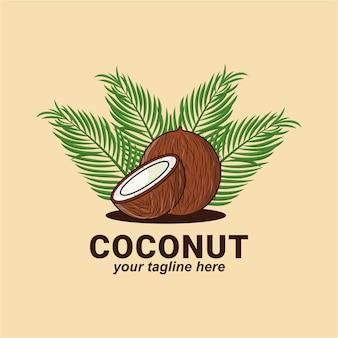 Kokosnoot ontwerp premium illustratie logo