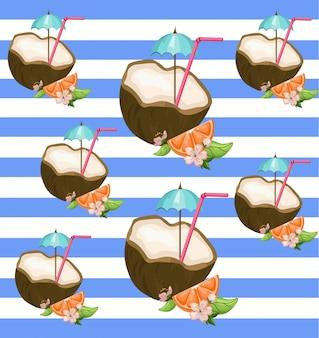 Kokosnoot op gestreepte achtergrond vector exotische patroonillustratie