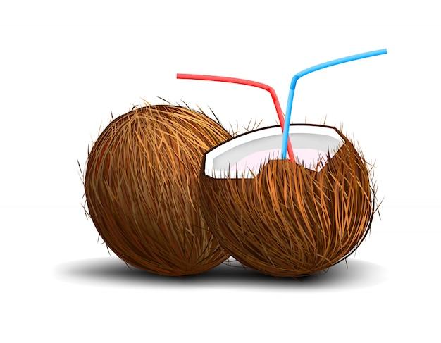 Kokosnoot op witte achtergrond met het drinken van buizen en schaduw wordt geïsoleerd die