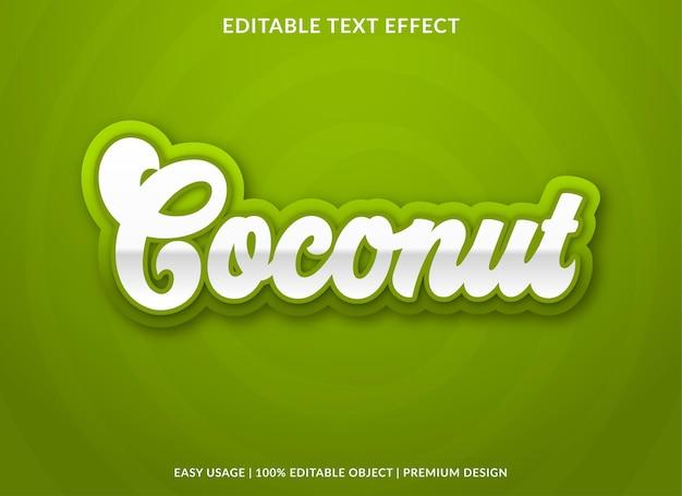 Kokosnoot teksteffectsjabloon met gewaagd stijlgebruik voor voedselmerk en logo