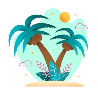 Kokosnotenpalmen op tropisch zandstrand