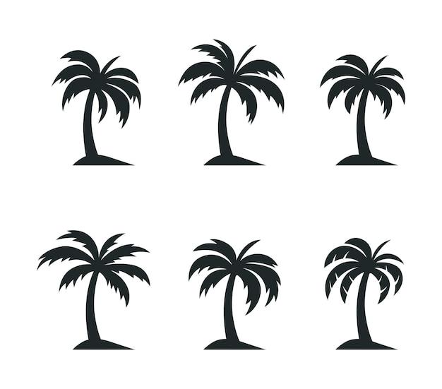 Kokospalm set logo sjabloon
