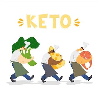 Koks van verschillende etniciteiten met keto-voedsel