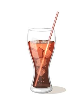 Koladrank in een glazen beker met ijs met stokken