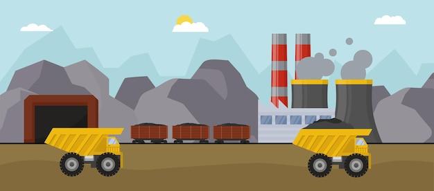 Kolenmijnconcept met industriële vrachtwagen, vectorillustratie. zwaar transportmaterieel, graafmachine voor krachtmachines met kolen. fabrieksindustrie met pijpen, luchtemissies van buis.