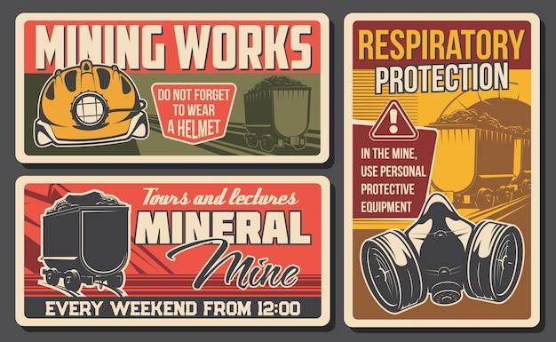 Kolenmijnindustrie retro banners met ondergrondse mijnputtunnel