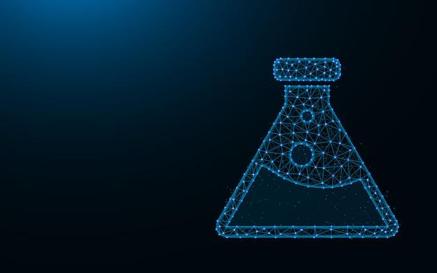 Kolf gemaakt van punten en lijnen op donkerblauwe achtergrond, laboratorium draadframe mesh veelhoekig