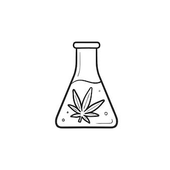 Kolf met marihuana extractie hand getrokken schets doodle pictogram. medicinale cannabis, laboratorium cbd-olieconcept