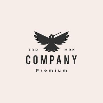 Kolibrie colibri brullen hipster vintage logo sjabloon