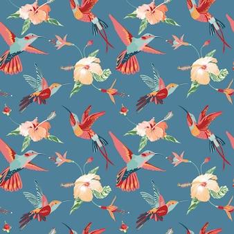 Kolibrie en tropisch retro naadloos patroon Premium Vector