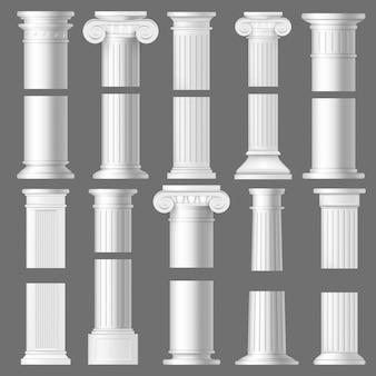 Kolompijler realistische mockups, architectuur