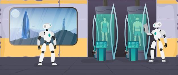 Kolonisatie van de planeten. de robot controleert de toestand van de mens. futuristisch laboratorium met cryogene capsules. cryontechnologie voor mensen of de cryogene kamer van een astronaut. vector.