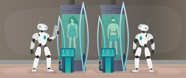 Kolonisatie van de planeten. de robot controleert de toestand van de mens. futuristisch laboratorium met cryogene capsules. cryontechnologie voor mensen of de cryogene kamer van een astronaut.