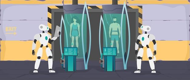 Kolonisatie van de planeten. de robot controleert de toestand van de mens.