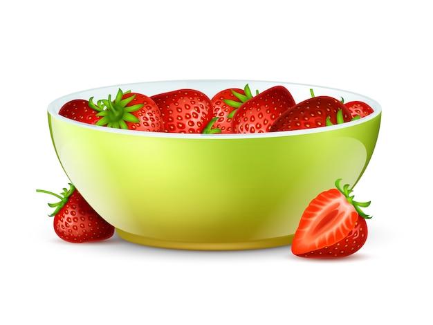 Kom aardbeien. realistische bessen en kom vectorillustratie
