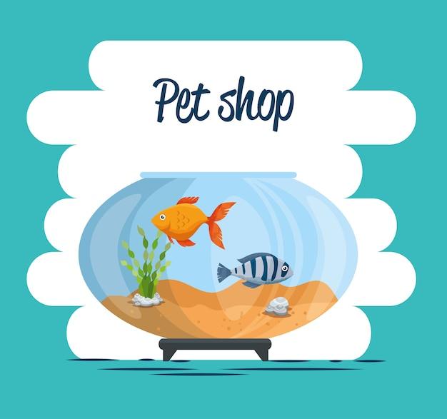 Kom aquarium met vis